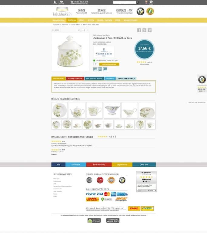 Design eines Onlineshops es sind keine struktured Data zu sehen.