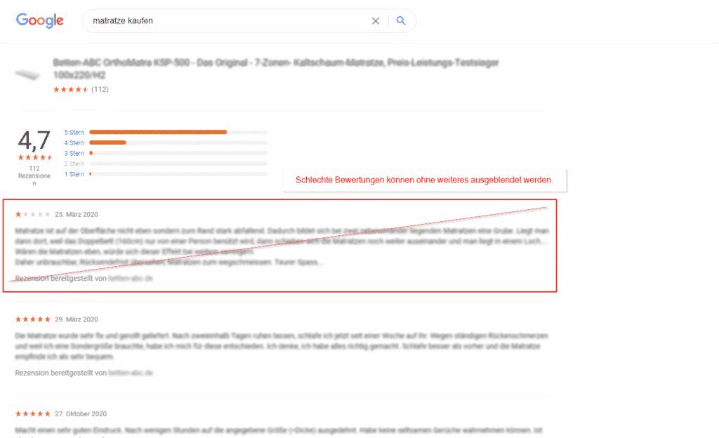 Schlechte Bewertungen ausblenden mit dem Plugin Shopware 6 Produktbewertungen für Google-Shopping als XML-Feed