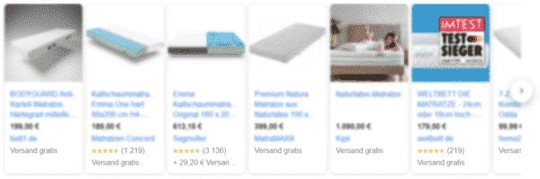 Produkte mit Bewertungen in der Google Shopping Product Box in der Google Suche