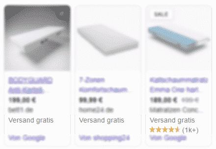 Ansicht der Google Shopping Product Box mit Produktbewertungen auf der rechten Seite in der Desktop-Ansicht.